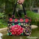 新款中老年女包民族風繡花包包刺繡帆布小包中年女士手提包 黛尼時尚精品