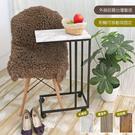 【品樂生活】免運 簡約方管多功能ㄈ型移動邊桌(附二活二煞輪組)/大理石紋/床邊桌/懶人桌
