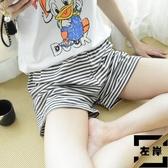 大碼休閒短褲條紋純棉家居褲睡褲居家褲寬版薄款【左岸男裝】