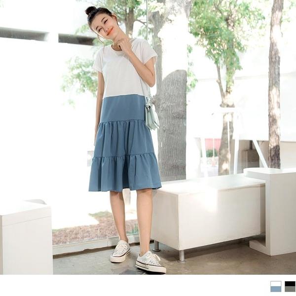 《DA7841-》高含棉撞色拼接傘襬蛋糕長洋裝 OB嚴選