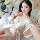 睡衣女夏季短袖兩件套裝絲綢蕾絲性感春秋長袖冰絲睡裙家居服吊帶   韓語空間