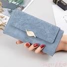 長夾 錢包女長款2021新款小眾設計簡約復古磨砂葉子女士錢包時尚手拿包 【618 大促】