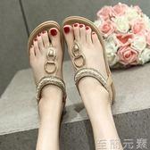 羅馬沙灘涼鞋女夏平底牛筋底防滑孕婦鞋大碼涼鞋女鞋 至簡元素