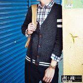 『潮段班』【HJ000158】秋冬新款韓國學院風格休閒運動線條造型上衣長袖針織衫V領毛線衣