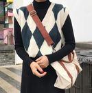 韓版復古百搭英倫菱格紋V領無袖針織背心馬甲打底毛衣女 蘇迪蔓