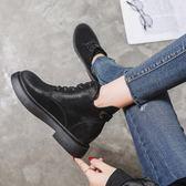 店長 ▶馬丁靴女英倫風學生 百搭復古女靴靴子黑色加絨短靴系帶