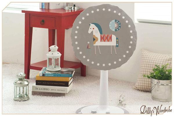 ☆Dolly生活館*╮韓式簡約 灰底白馬 圓形電風扇套防塵罩/電扇防護罩/電扇收納 20632