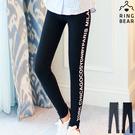 內搭褲--超高彈力運動風雙側英文印圖鬆緊腰頭窄管貼腿內搭褲(黑.灰XL-4L)-P128眼圈熊中大尺碼◎