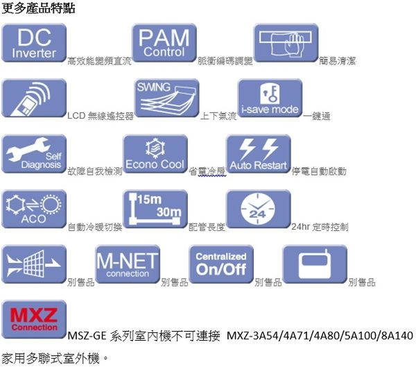 三菱 Mitsubishi 一對一變頻冷暖 靜音大師 MSZ-GE42NA / MUZ-GE42NA