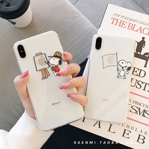 【SZ13】卡通史努比情侶透明殼 iphone XSMAX手機殼 iphone XR XS手機殼 iphone 8plus手機殼 iphone 6s plus手機殼