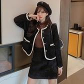 套裝裙 小個子秋冬修身顯瘦夾棉小香風水貂絨外套 半身裙兩件套T243韓衣裳