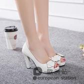 魚口高跟鞋/春夏季新款涼鞋女粗跟蝴蝶結女鞋氣質工作鞋子白色「歐洲站」