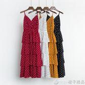 長裙女夏裝2018新款氣質顯瘦V領吊帶裙收腰波點連衣裙層層蛋糕裙   橙子精品