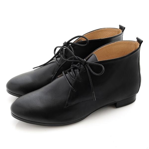 全真皮經典綁帶德比短靴-黑色‧karine(MIT台灣製)