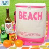 LIFECODE BEACH 高桶保冰袋/購物袋/沙灘袋(23L)-桃紅