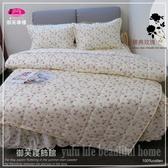 御芙專櫃『臻典玫瑰』米【單人雙配床罩】3.5*6.2尺/精裝純棉/ MIT五件套