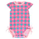 短袖泳衣 RuffleButts 小童 大童 防曬連身短袖泳裝 泳衣- 藍底桃滿版紅圓花棋 RGSCA-1PSW