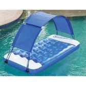 預購★0620-04水上充氣床墊 成人游泳圈遮陽蓬浮排加厚兒童防曬漂流躺椅 (203*107cm)