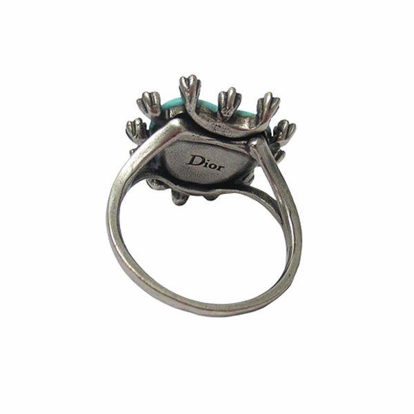 Dior 迪奧 藍綠色愛心鑲水鑽復古蜜蜂造型戒指  【二手名牌BRAND OFF】