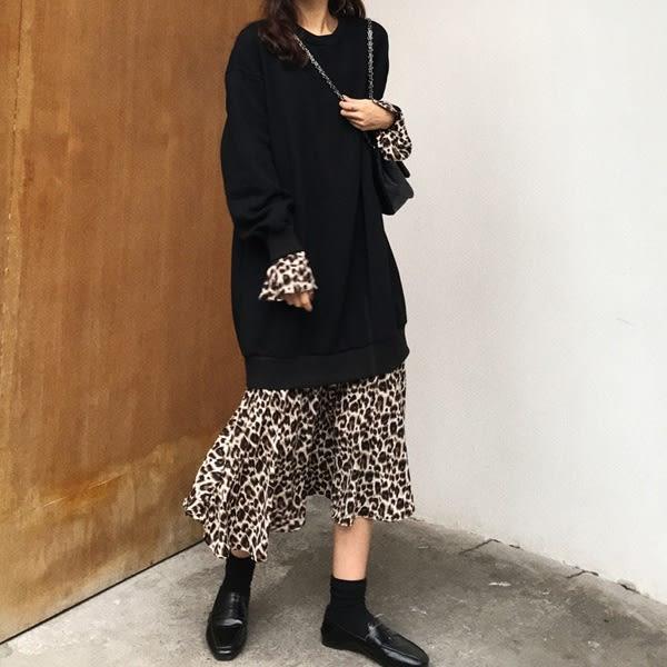 洋裝 假兩件豹紋襯裙長袖洋裝(共2色)小豬兒 Mini Jule  【YUA82008133】。現+預