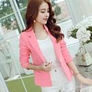 外套 彩黛妃春夏新款韓版女裝修身長袖休閒時尚純色小西裝女士外套