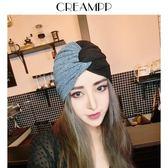 歐美復古雙色拼接摩登棉質褶皺包頭帽褶皺帽套頭發巾