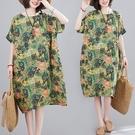 棉麻民俗風印花繭型剪裁洋裝-大尺碼 獨具衣格 J3691