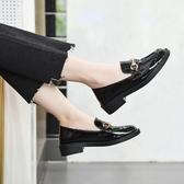 牛津鞋女 小皮鞋 英倫風兩穿單鞋新款加絨黑色學院風一腳蹬樂福鞋女韓版女鞋子《小師妹》sm3530