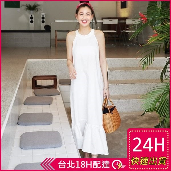 梨卡★現貨 - 韓版度假優雅繞頸洋裝連身裙連身長裙長洋裝沙灘裙B796