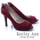2017  _Keeley Ann 高雅奢華魅力菱形水鑽墜飾素面高跟魚口鞋紅色