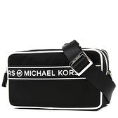 美國正品 MICHAEL KORS 黑白配色高密度尼龍雙層拉鍊相機包-黑色【現貨】
