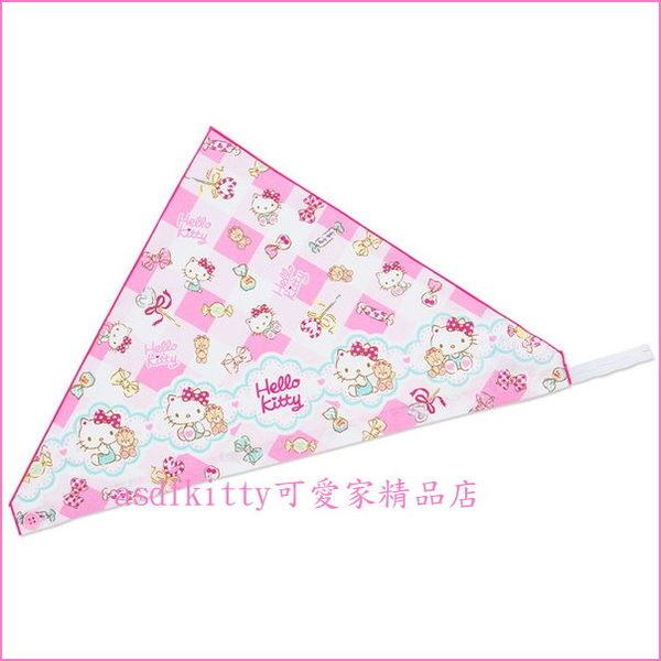 asdfkitty可愛家☆KITTY糖果版棉質兒童用三角頭巾-角色扮演小廚師-萬聖節變裝拍照-日常烹飪-日本製