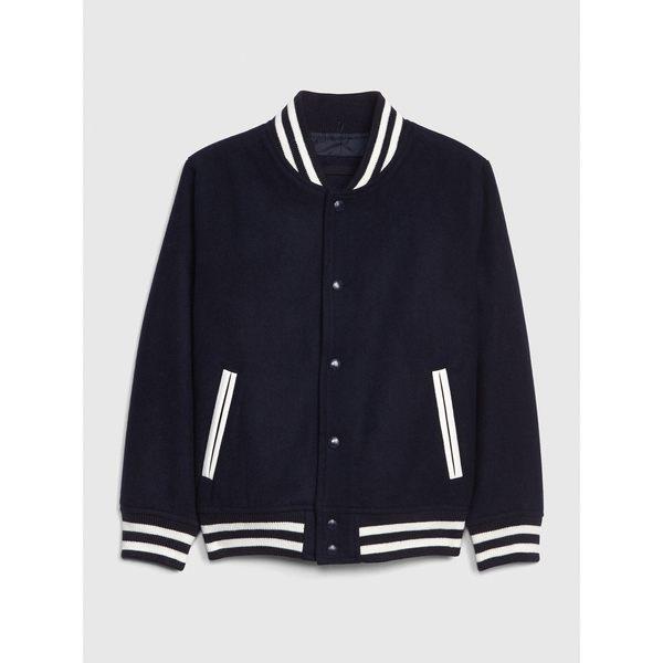 Gap男童 舒適短款長袖棒球夾克 473916-海軍藍