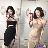 [Bbay] 春裝時尚性感夜店鏤空抹胸斜肩低胸掛脖包臀開叉連身裙