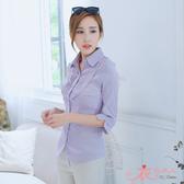 【A33673】胸襟壓皺七分袖條紋襯衫(紫色)*衣衣夫人OL服飾店*