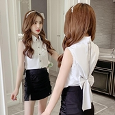 夏装2021新款时尚韩版女装后背蝴蝶结设计感心机无袖短款衬衫上衣