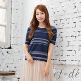 【ef-de】 橫條細寬紋圓領短袖針織上衣(深藍)