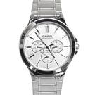 CASIO手錶亮銀三眼不鏽鋼錶NEC150