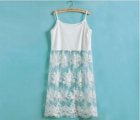 內搭蕾絲花朵背心裙 細肩帶內襯裙 M100