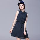 小中大尺碼無袖拉縮腰簡約雪紡洋裝 深藍色 M # sn1121  ❤卡樂store❤