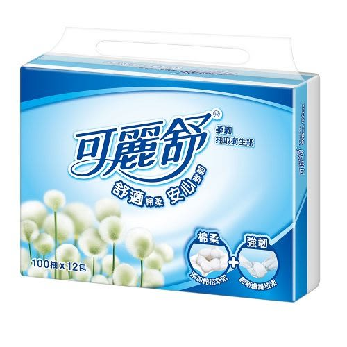 可麗舒柔韌抽取衛生紙100抽*12包【愛買】