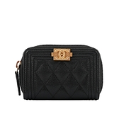 【CHANEL】Boy Chanel 荔枝皮革金釦ㄇ拉卡夾/零錢包(黑色) CH24000012