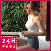 梨卡★現貨 - 韓國氣質[美胸綁脖+高腰遮肚] 兩件式泳衣 - 撞色顯瘦比基尼泳裝C964