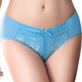 思薇爾-撩波系列M-XXL蕾絲中腰三角內褲(水瓶藍)