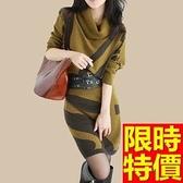 洋裝-毛呢加厚羊毛針織蝙蝠袖女連身裙3色65r3[巴黎精品]