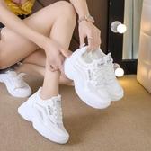 運動鞋 2020夏季新款透氣內增高女鞋百搭網面休閒白色運動鞋子小白老爹鞋 JX2095【衣好月圓】