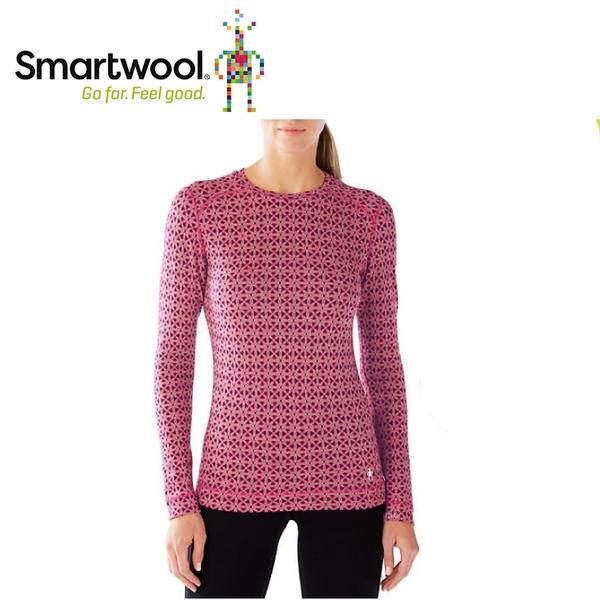 【美國 SmartWool 女NTS 250印花圓領長袖衫《魔藥紅》】SW0SS226/長袖衛生衣/登山健行/保暖圓領