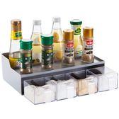 抽屜式調料盒廚房創意調味罐套裝家用調味瓶置物架塑料鹽罐調味盒 熊貓本