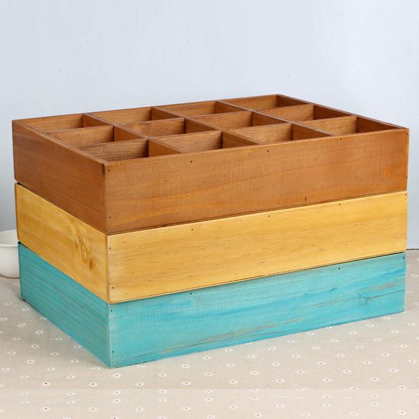 [超豐國際]十二格木制桌面收納盒 實木壁掛服裝店裝飾 分格首1入