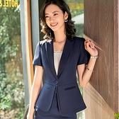 美之札[8S005-PF]中尺碼*流暢雙層下襬OL短袖西裝外套~春夏搭配/上班/面試